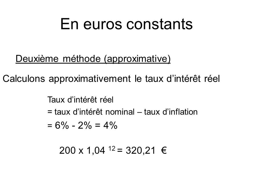 En euros constants Deuxième méthode (approximative) Calculons approximativement le taux d'intérêt réel Taux d'intérêt réel = taux d'intérêt nominal – taux d'inflation = 6% - 2% = 4% 200 x 1,04 12 = 320,21 €