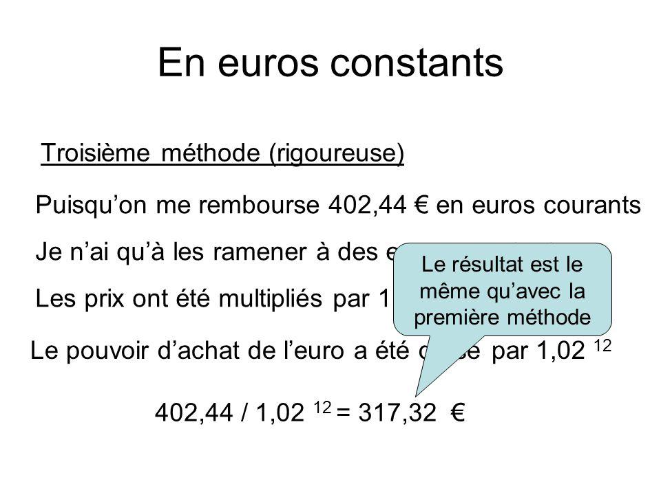 En euros constants Troisième méthode (rigoureuse) Puisqu'on me rembourse 402,44 € en euros courants Je n'ai qu'à les ramener à des euros constants 402,44 / 1,02 12 = 317,32 € Les prix ont été multipliés par 1,02 12 Le pouvoir d'achat de l'euro a été divisé par 1,02 12 Le résultat est le même qu'avec la première méthode