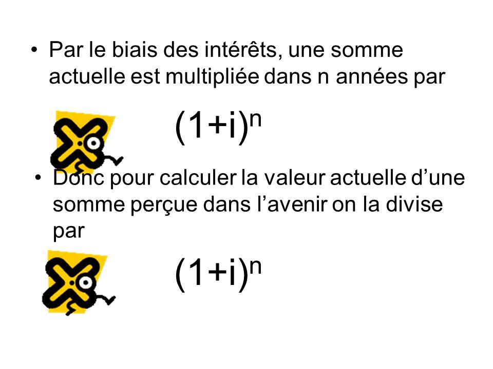 Par le biais des intérêts, une somme actuelle est multipliée dans n années par (1+i) n Donc pour calculer la valeur actuelle d'une somme perçue dans l'avenir on la divise par (1+i) n