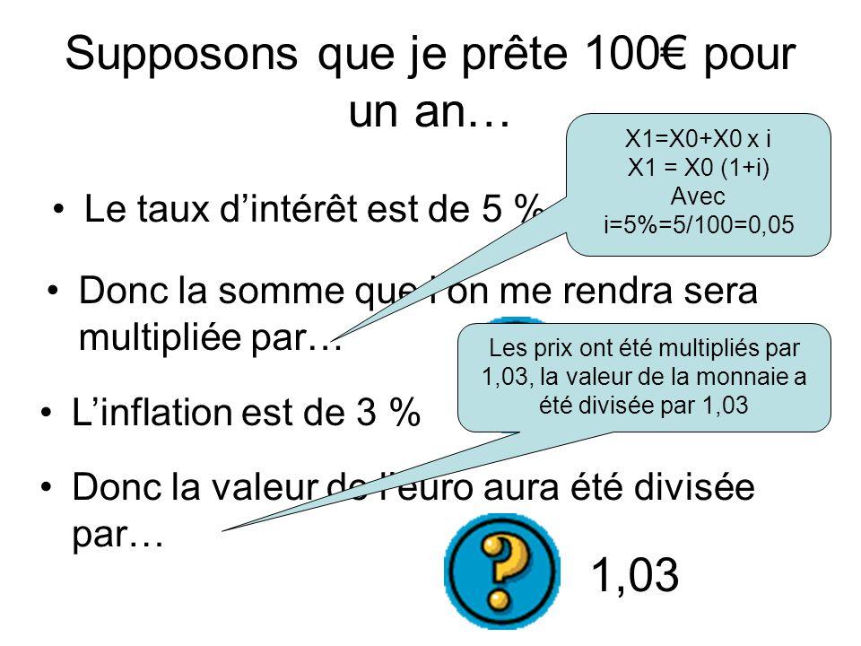 Supposons que je prête 100€ pour un an… Le taux d'intérêt est de 5 % L'inflation est de 3 % Donc la somme que l'on me rendra sera multipliée par… Donc la valeur de l'euro aura été divisée par… 1,05 1,03 X1=X0+X0 x i X1 = X0 (1+i) Avec i=5%=5/100=0,05 Les prix ont été multipliés par 1,03, la valeur de la monnaie a été divisée par 1,03