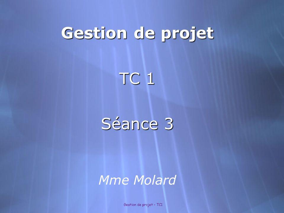 Gestion de projet - TC1 III- Mettre en forme les résultats 1- Choisir une représentation graphique : Présenter une répartition (ex :camembert) Présenter une répartition (ex :camembert) Présenter une évolution (ex : diagramme en bâtons, courbes..) Présenter une évolution (ex : diagramme en bâtons, courbes..) 2- Réaliser un graphique avec Excel Suivre les étapes prévues dans les bo î tes de dialogue du logiciel.