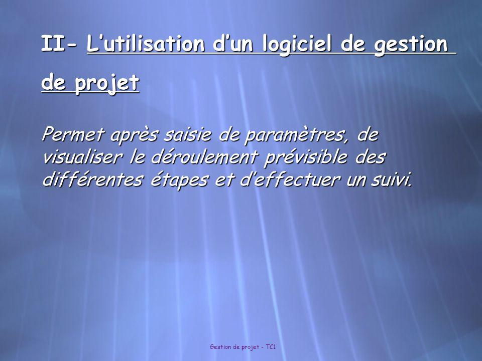 Gestion de projet - TC1 II- L'utilisation d'un logiciel de gestion de projet Permet après saisie de paramètres, de visualiser le déroulement prévisibl