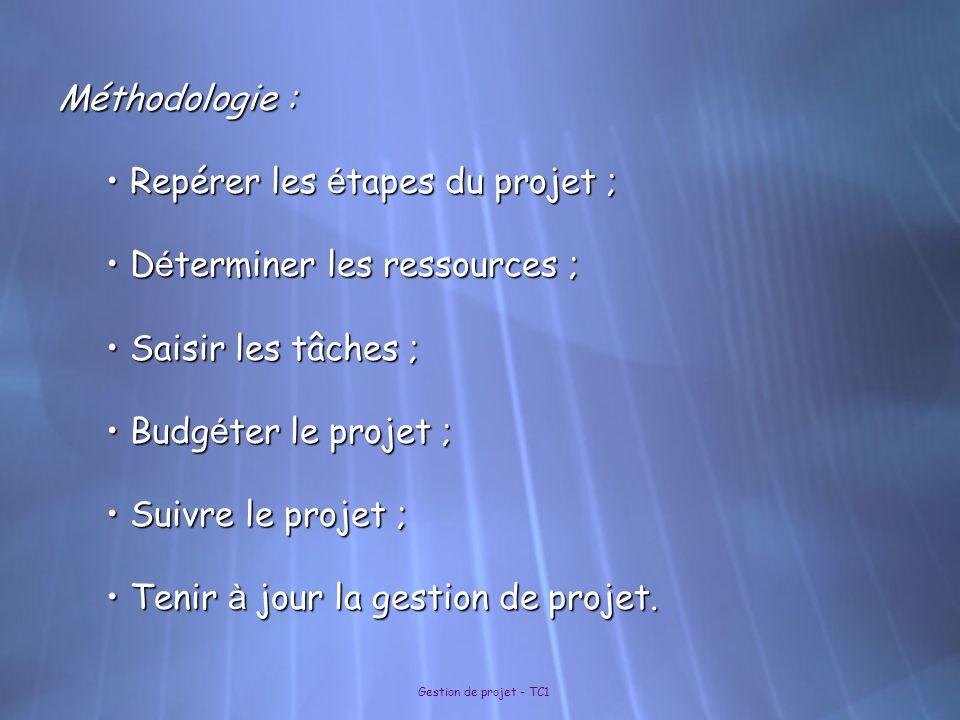 Gestion de projet - TC1 Méthodologie : Repérer les é tapes du projet ; Repérer les é tapes du projet ; D é terminer les ressources ; D é terminer les