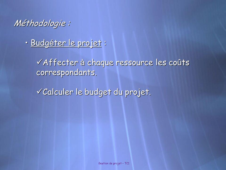 Gestion de projet - TC1 Méthodologie : Budg é ter le projet : Budg é ter le projet : Affecter à chaque ressource les co û ts correspondants. Affecter