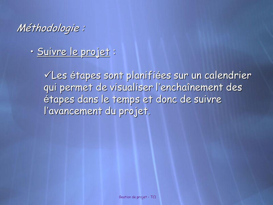 Gestion de projet - TC1 Méthodologie : Suivre le projet : Suivre le projet : Les é tapes sont planifi é es sur un calendrier qui permet de visualiser