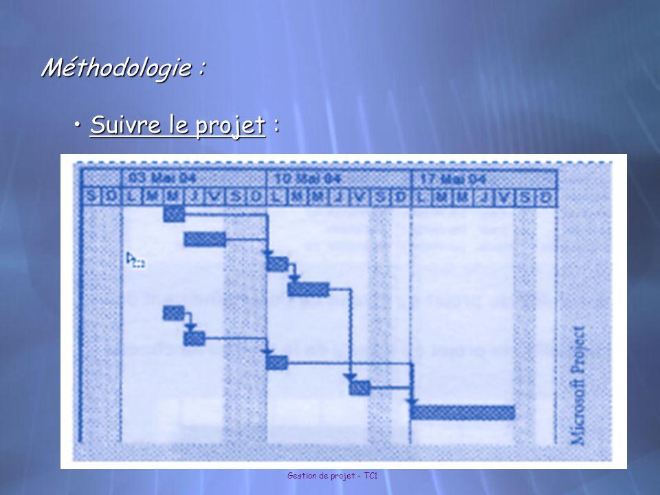 Gestion de projet - TC1 Méthodologie : Suivre le projet : Suivre le projet :