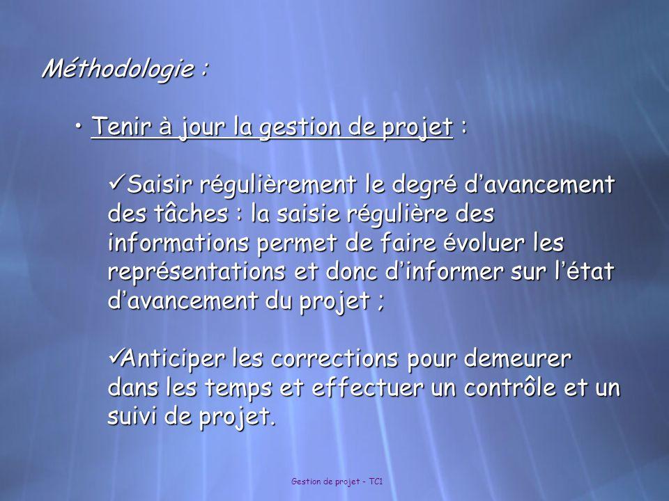 Gestion de projet - TC1 Méthodologie : Tenir à jour la gestion de projet : Tenir à jour la gestion de projet : Saisir r é guli è rement le degr é d '