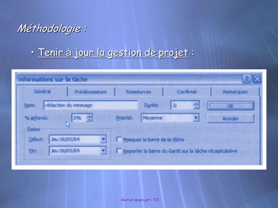 Gestion de projet - TC1 Méthodologie : Tenir à jour la gestion de projet : Tenir à jour la gestion de projet :