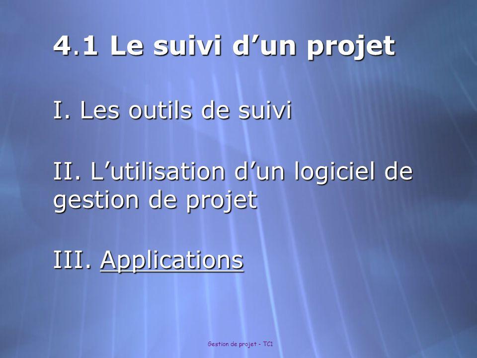 Gestion de projet - TC1 4.1 Le suivi d'un projet I. Les outils de suivi II. L'utilisation d'un logiciel de gestion de projet III. Applications