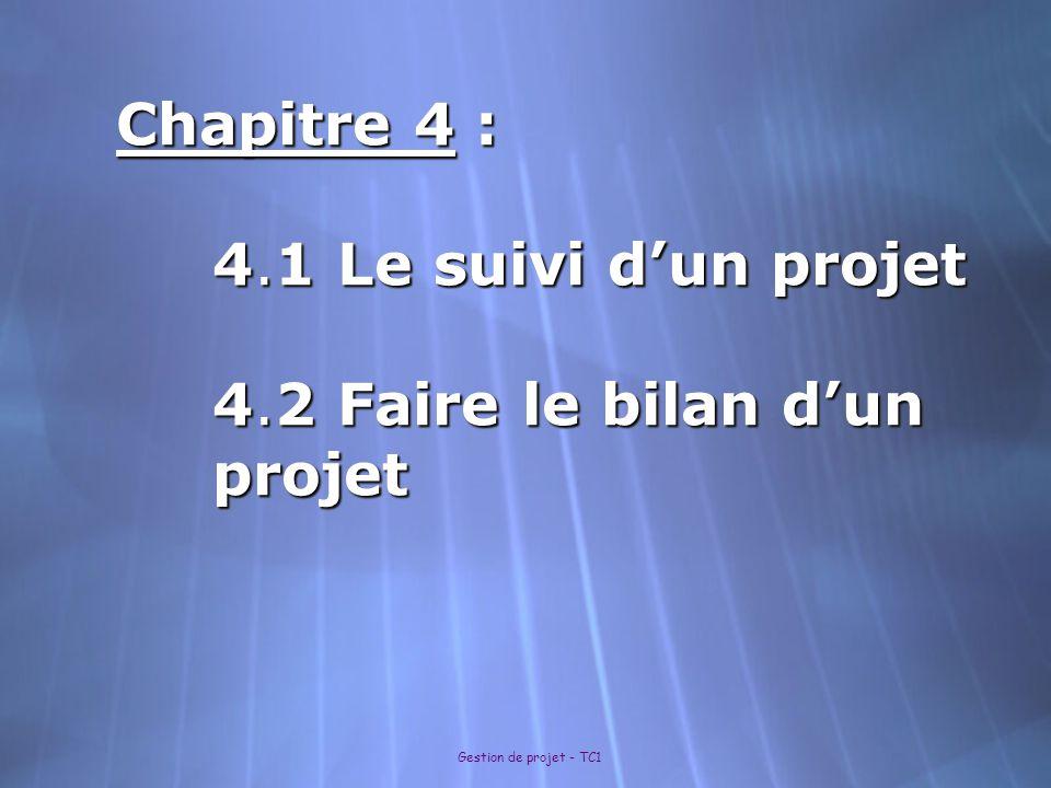 Gestion de projet - TC1 Chapitre 4 : 4.1 Le suivi d'un projet 4.2 Faire le bilan d'un projet