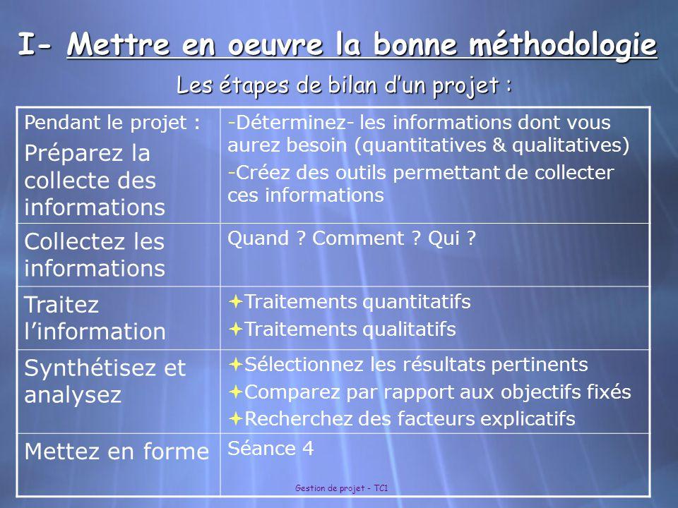 Gestion de projet - TC1 I- Mettre en oeuvre la bonne méthodologie Les étapes de bilan d'un projet : Pendant le projet : Préparez la collecte des infor