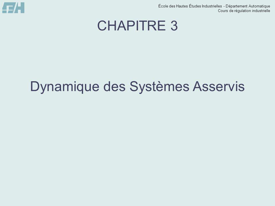 École des Hautes Études Industrielles - Département Automatique Cours de régulation industrielle CHAPITRE 3 Dynamique des Systèmes Asservis