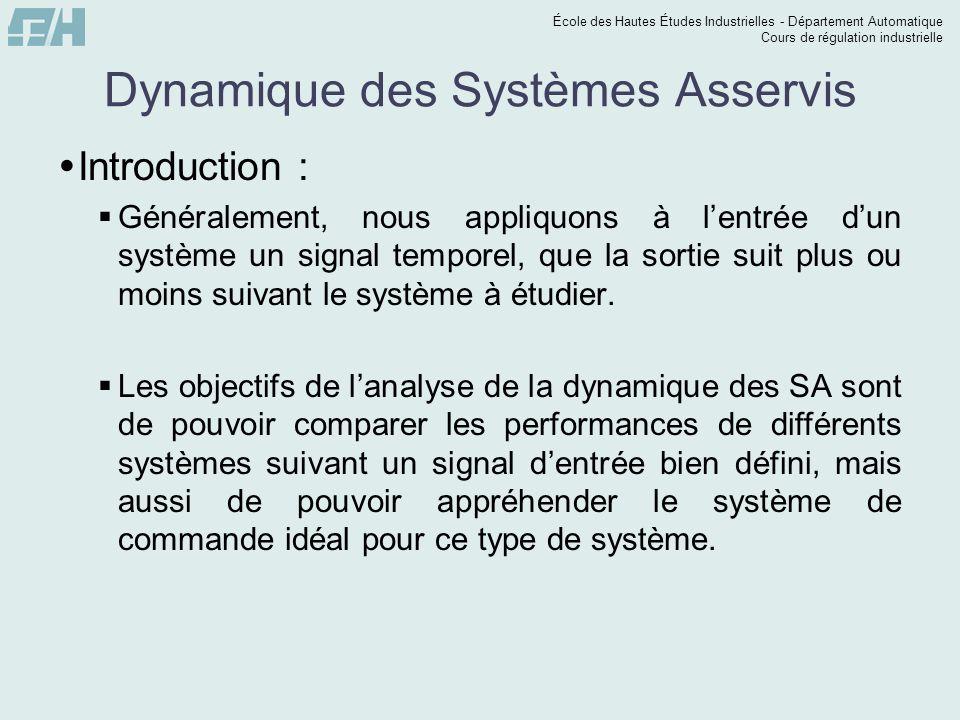 École des Hautes Études Industrielles - Département Automatique Cours de régulation industrielle Dynamique des Systèmes Asservis  Introduction :  Gé
