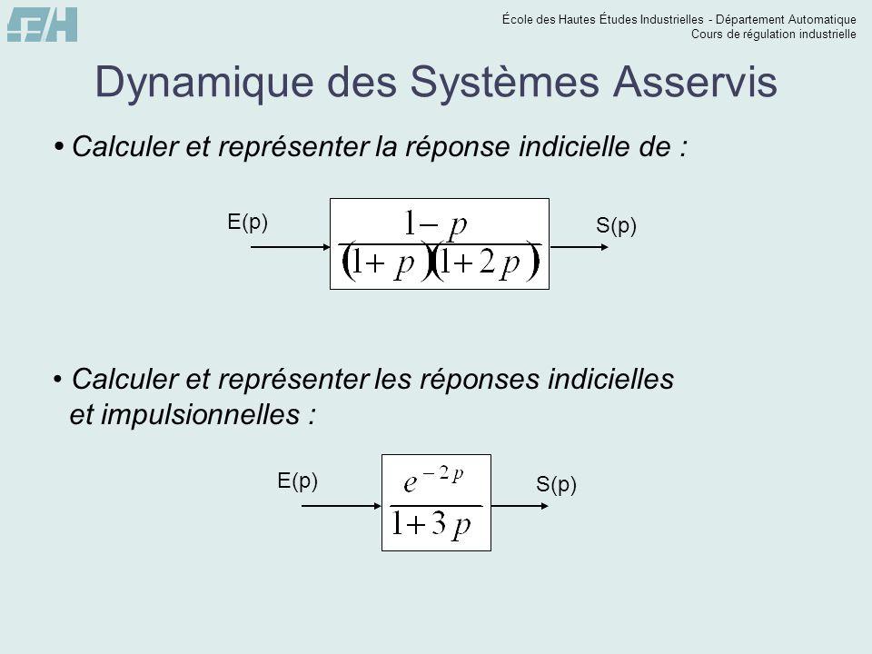 École des Hautes Études Industrielles - Département Automatique Cours de régulation industrielle Dynamique des Systèmes Asservis  Calculer l'erreur statique d'asservissement pour un échelon unitaire et l'erreur statique de régulation pour un échelon de 0,2.