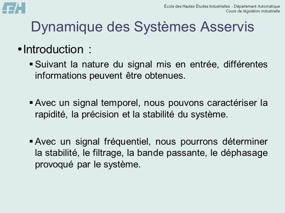 École des Hautes Études Industrielles - Département Automatique Cours de régulation industrielle Dynamique des Systèmes Asservis  Introduction :  Su