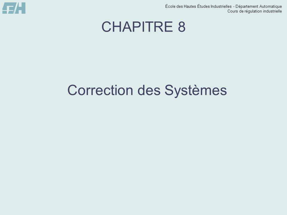 École des Hautes Études Industrielles - Département Automatique Cours de régulation industrielle CHAPITRE 8 Correction des Systèmes