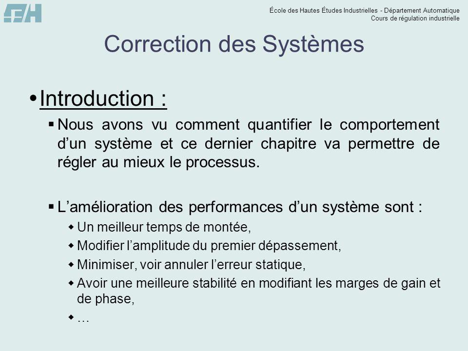 École des Hautes Études Industrielles - Département Automatique Cours de régulation industrielle Correction des Systèmes  Introduction :  Nous avons
