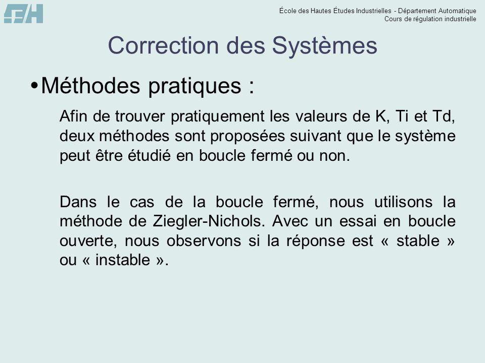 École des Hautes Études Industrielles - Département Automatique Cours de régulation industrielle Correction des Systèmes  Méthodes pratiques : Afin d