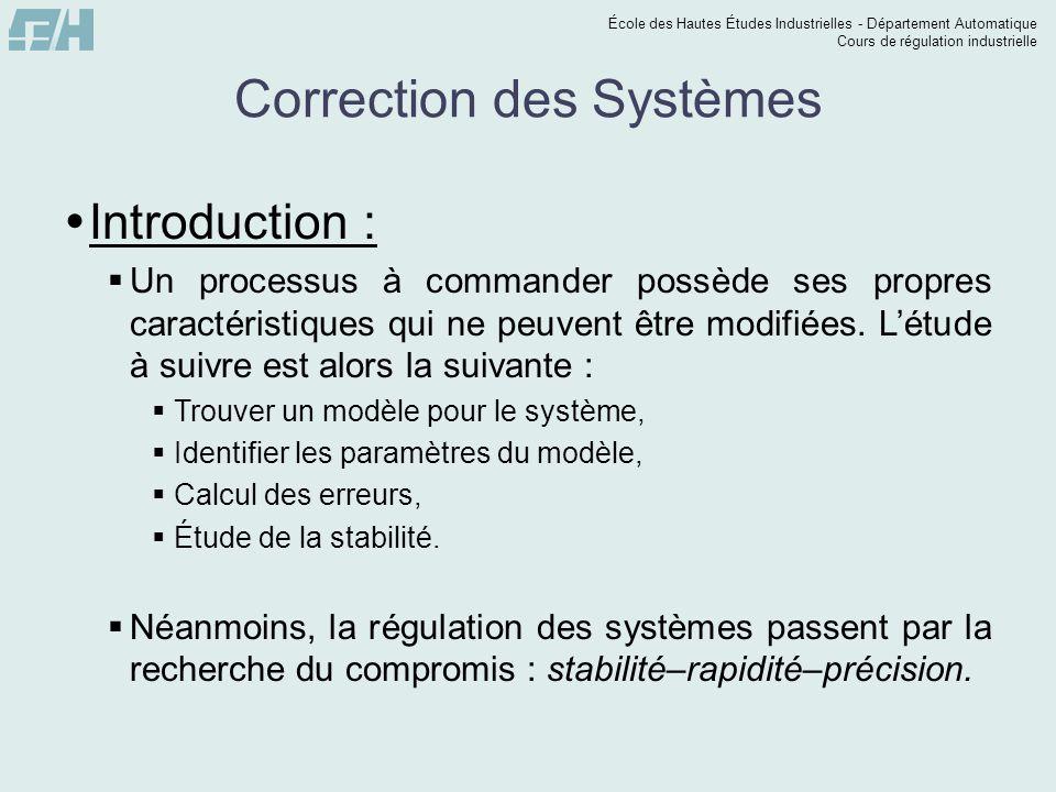 École des Hautes Études Industrielles - Département Automatique Cours de régulation industrielle Correction des Systèmes  Introduction :  Un process