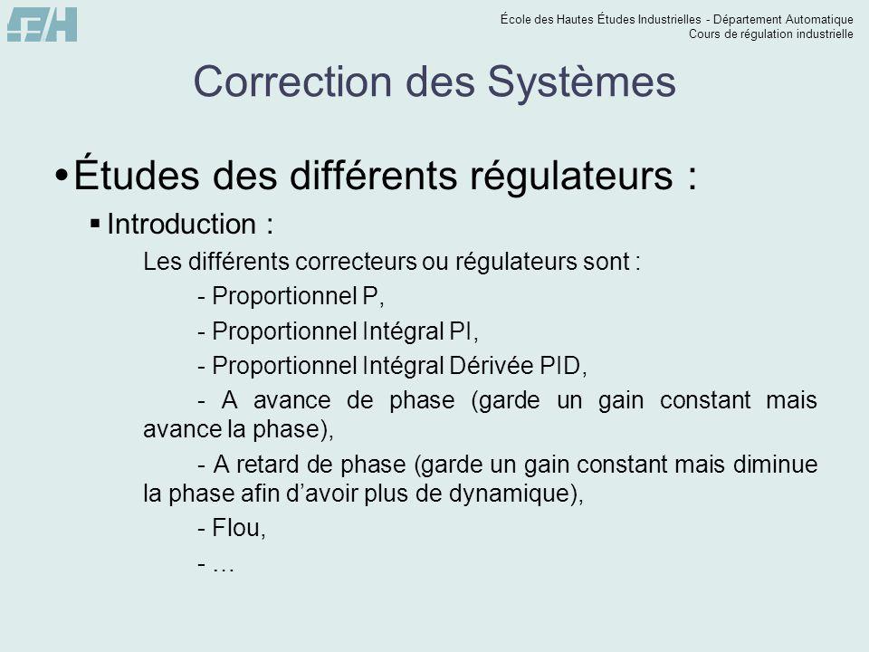 École des Hautes Études Industrielles - Département Automatique Cours de régulation industrielle Correction des Systèmes  Études des différents régul