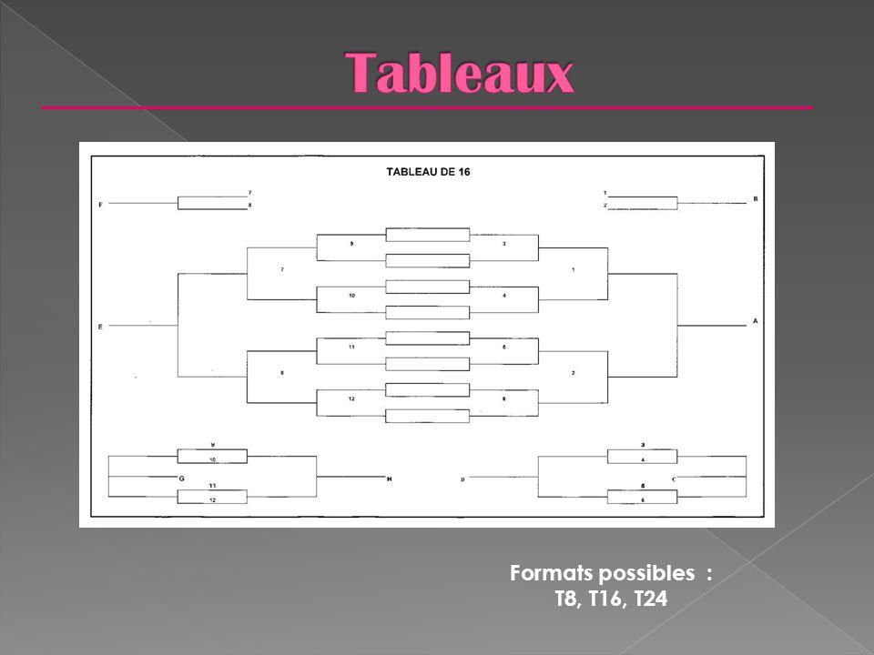 Formats possibles : T8, T16, T24