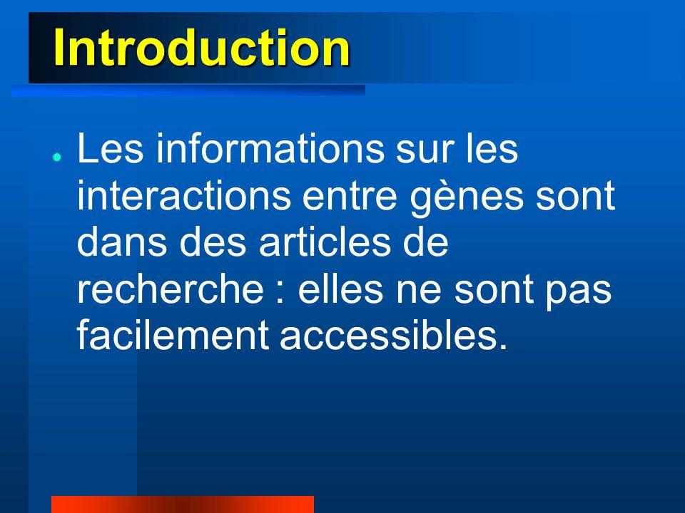 Introduction ● Les informations sur les interactions entre gènes sont dans des articles de recherche : elles ne sont pas facilement accessibles.