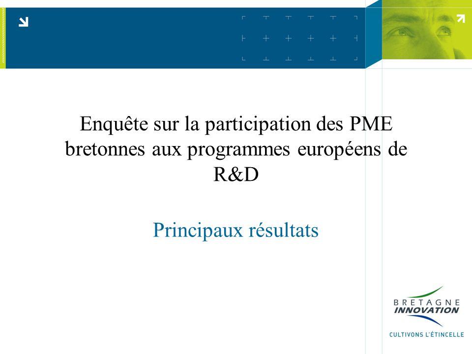 Enquête sur la participation des PME bretonnes aux programmes européens de R&D Principaux résultats