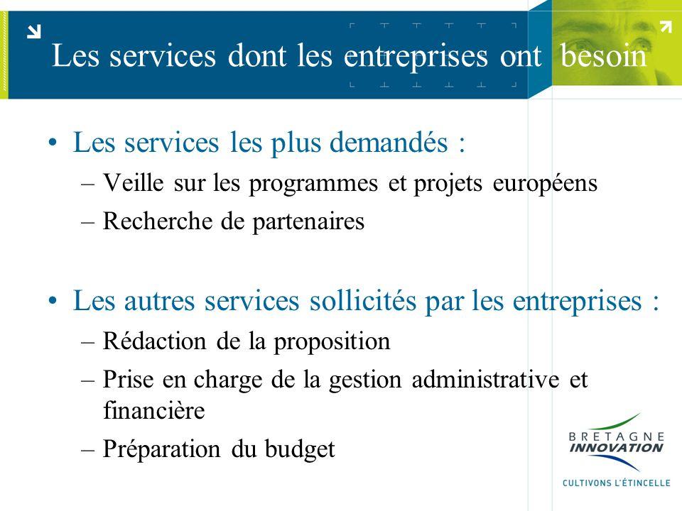 Les services dont les entreprises ont besoin Les services les plus demandés : –Veille sur les programmes et projets européens –Recherche de partenaire