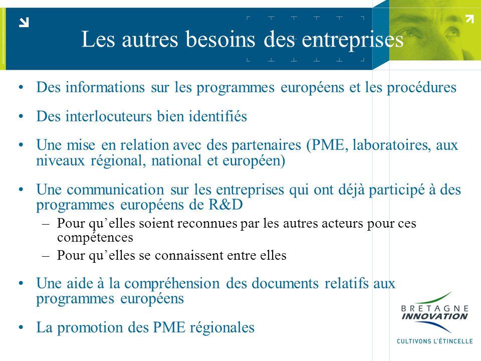 Les autres besoins des entreprises Des informations sur les programmes européens et les procédures Des interlocuteurs bien identifiés Une mise en rela