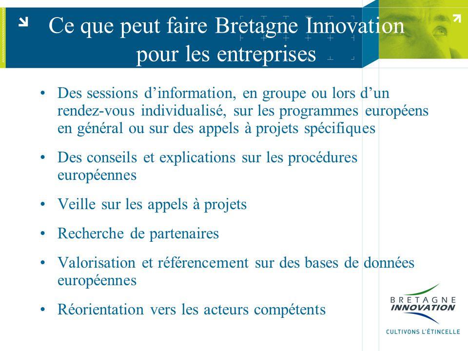 Ce que peut faire Bretagne Innovation pour les entreprises Des sessions d'information, en groupe ou lors d'un rendez-vous individualisé, sur les progr