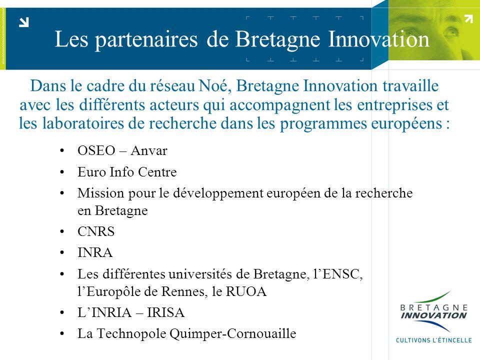Les partenaires de Bretagne Innovation OSEO – Anvar Euro Info Centre Mission pour le développement européen de la recherche en Bretagne CNRS INRA Les différentes universités de Bretagne, l'ENSC, l'Europôle de Rennes, le RUOA L'INRIA – IRISA La Technopole Quimper-Cornouaille Dans le cadre du réseau Noé, Bretagne Innovation travaille avec les différents acteurs qui accompagnent les entreprises et les laboratoires de recherche dans les programmes européens :