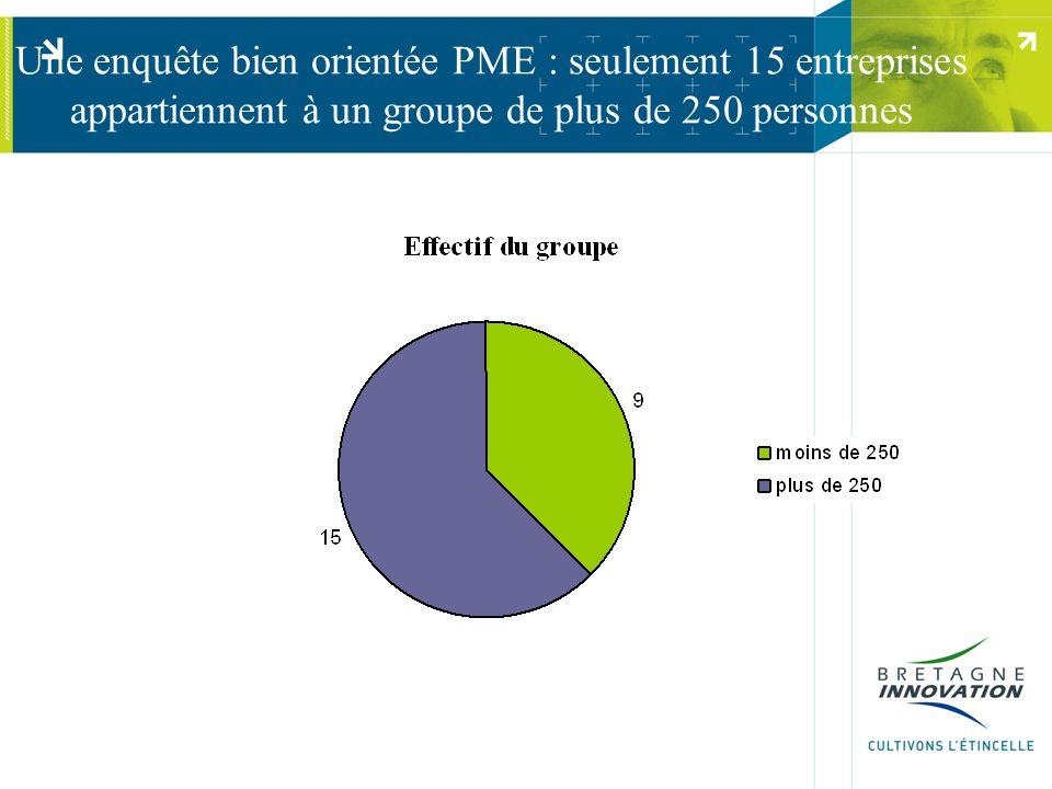 Une enquête bien orientée PME : seulement 15 entreprises appartiennent à un groupe de plus de 250 personnes