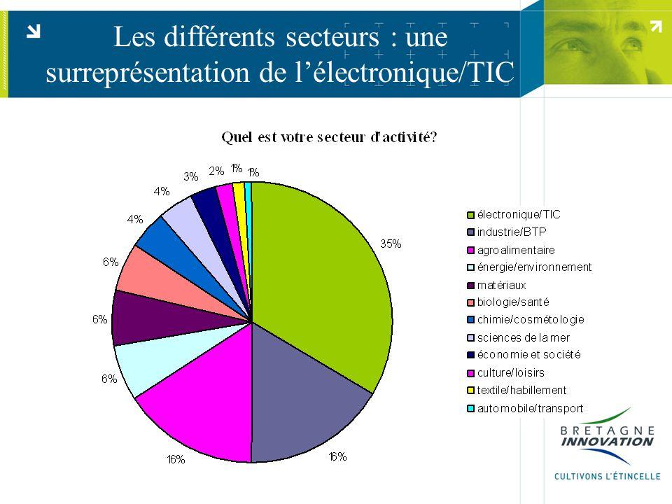 Les différents secteurs : une surreprésentation de l'électronique/TIC