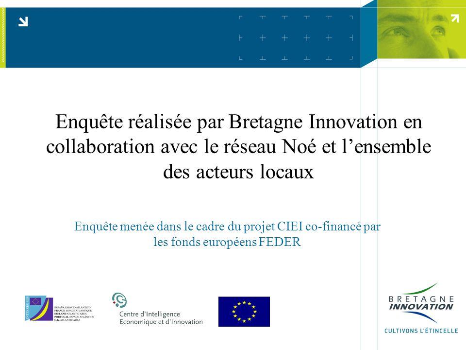Enquête réalisée par Bretagne Innovation en collaboration avec le réseau Noé et l'ensemble des acteurs locaux Enquête menée dans le cadre du projet CIEI co-financé par les fonds européens FEDER