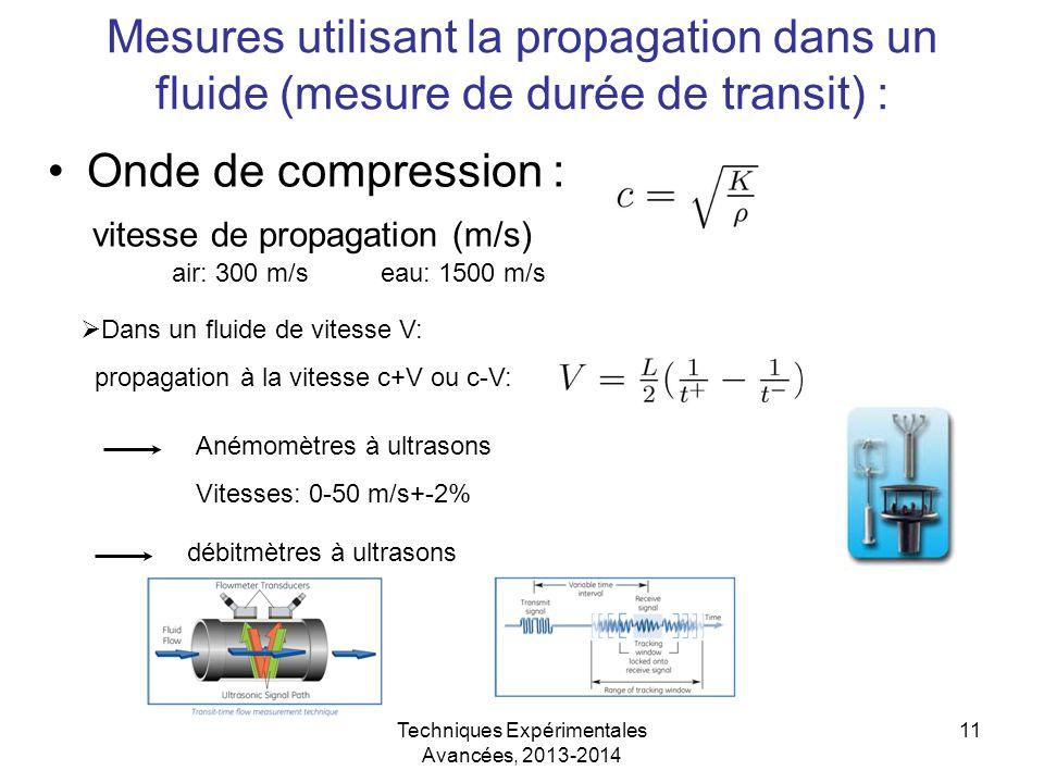Techniques Expérimentales Avancées, 2013-2014 11 Mesures utilisant la propagation dans un fluide (mesure de durée de transit) : Onde de compression :
