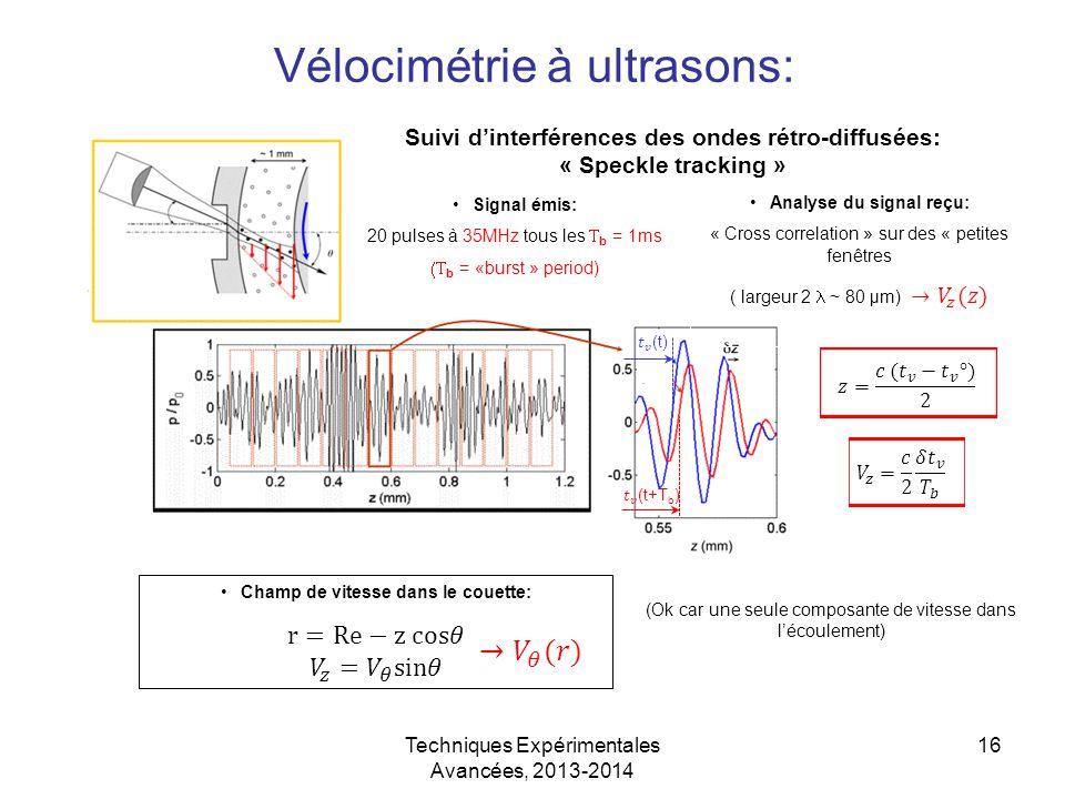 Techniques Expérimentales Avancées, 2013-2014 16 Vélocimétrie à ultrasons: Signal émis: 20 pulses à 35MHz tous les  b = 1ms  b = «burst » period) (