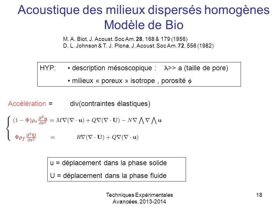Techniques Expérimentales Avancées, 2013-2014 18 Acoustique des milieux dispersés homogènes Modèle de Bio HYP: description mésoscopique : >> a (taille