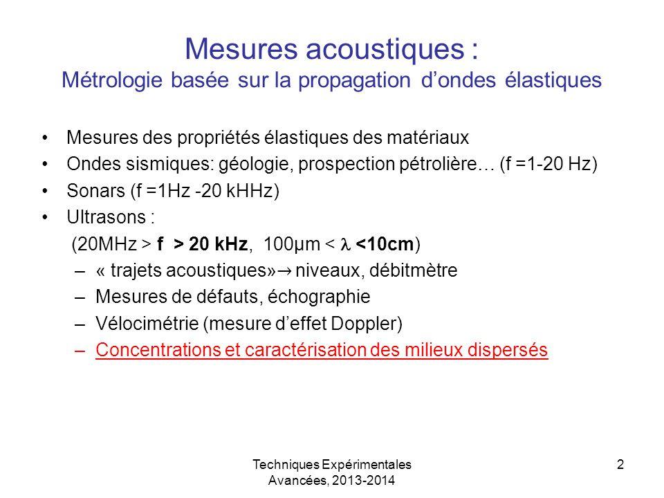 Techniques Expérimentales Avancées, 2013-2014 2 Mesures acoustiques : Métrologie basée sur la propagation d'ondes élastiques