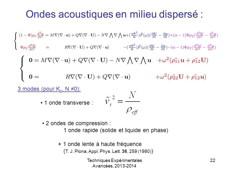 Techniques Expérimentales Avancées, 2013-2014 22 Ondes acoustiques en milieu dispersé : 3 modes (pour K p, N ≠0): 1 onde transverse : 2 ondes de compr