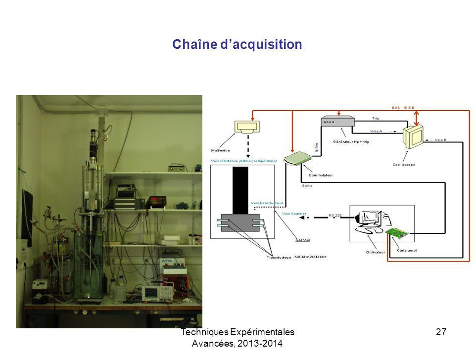 Techniques Expérimentales Avancées, 2013-2014 27 Chaîne d'acquisition