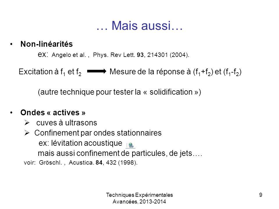 Techniques Expérimentales Avancées, 2013-2014 9 … Mais aussi… Non-linéarités ex: Angelo et al., Phys. Rev Lett. 93, 214301 (2004). Excitation à f 1 et