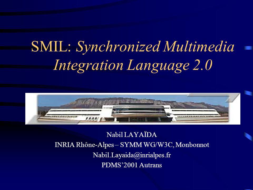 La structure d un document toto.smi head body seq switch par Layout Region 1 Media Canal audio Media Transition Animation Transition