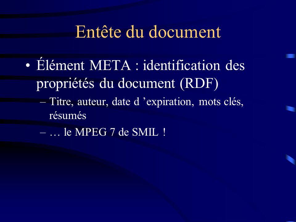 Entête du document Élément META : identification des propriétés du document (RDF) –Titre, auteur, date d 'expiration, mots clés, résumés –… le MPEG 7 de SMIL !