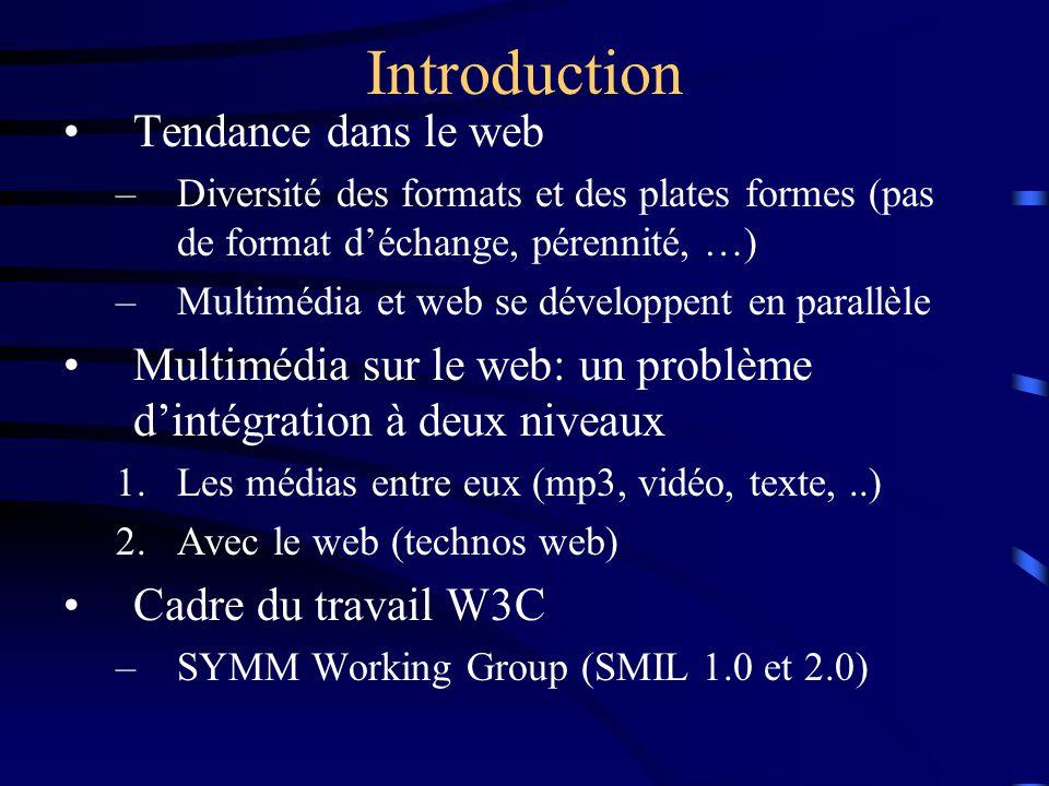 Tendance dans le web –Diversité des formats et des plates formes (pas de format d'échange, pérennité, …) –Multimédia et web se développent en parallèle Multimédia sur le web: un problème d'intégration à deux niveaux 1.Les médias entre eux (mp3, vidéo, texte,..) 2.Avec le web (technos web) Cadre du travail W3C –SYMM Working Group (SMIL 1.0 et 2.0) Introduction