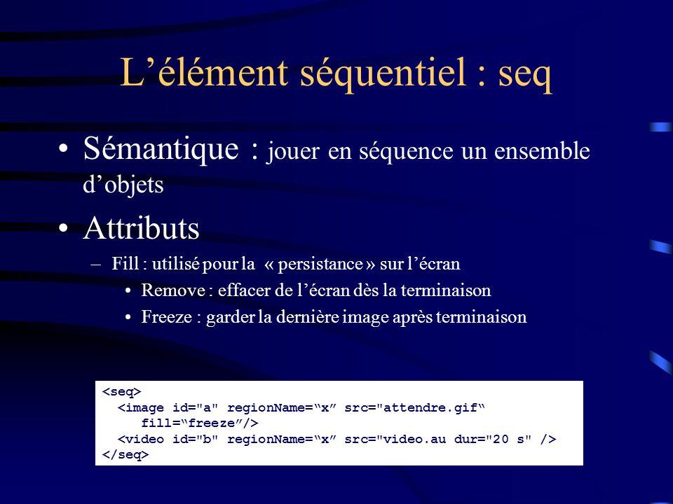 Sémantique : jouer en séquence un ensemble d'objets Attributs –Fill : utilisé pour la « persistance » sur l'écran Remove : effacer de l'écran dès la terminaison Freeze : garder la dernière image après terminaison L'élément séquentiel : seq