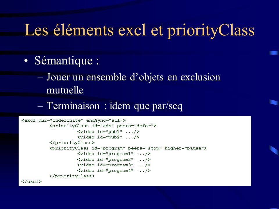 Les éléments excl et priorityClass Sémantique : –Jouer un ensemble d'objets en exclusion mutuelle –Terminaison : idem que par/seq