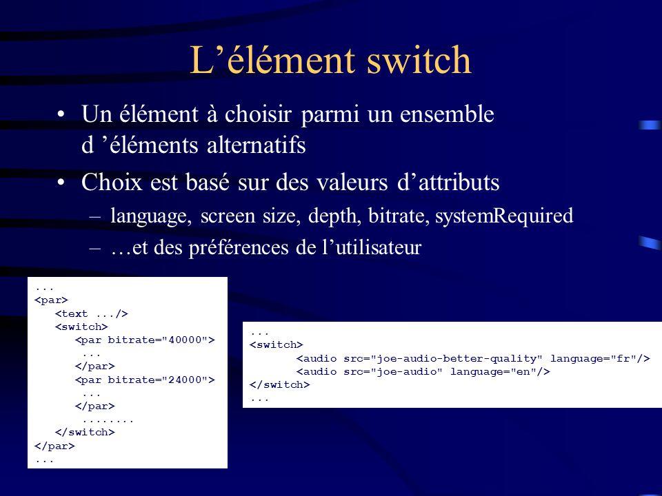 L'élément switch Un élément à choisir parmi un ensemble d 'éléments alternatifs Choix est basé sur des valeurs d'attributs –language, screen size, depth, bitrate, systemRequired –…et des préférences de l'utilisateur.......................