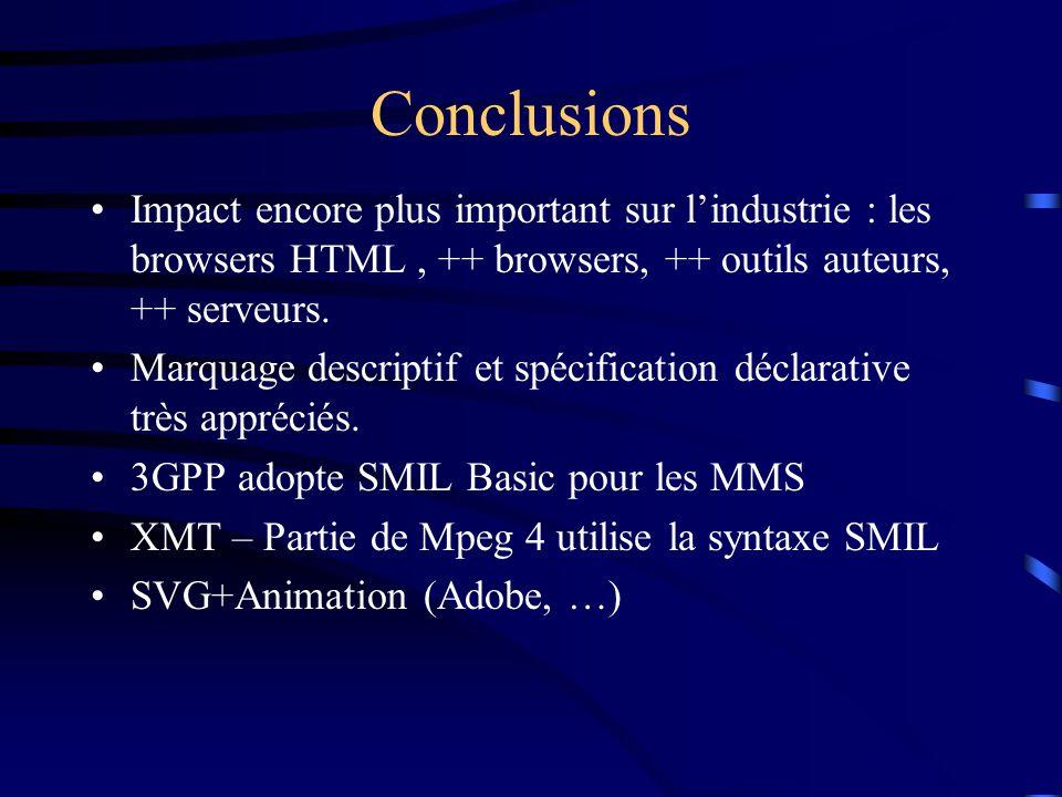 Conclusions Impact encore plus important sur l'industrie : les browsers HTML, ++ browsers, ++ outils auteurs, ++ serveurs.