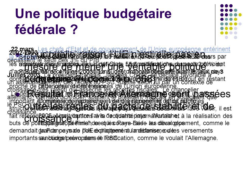 Une politique budgétaire fédérale .