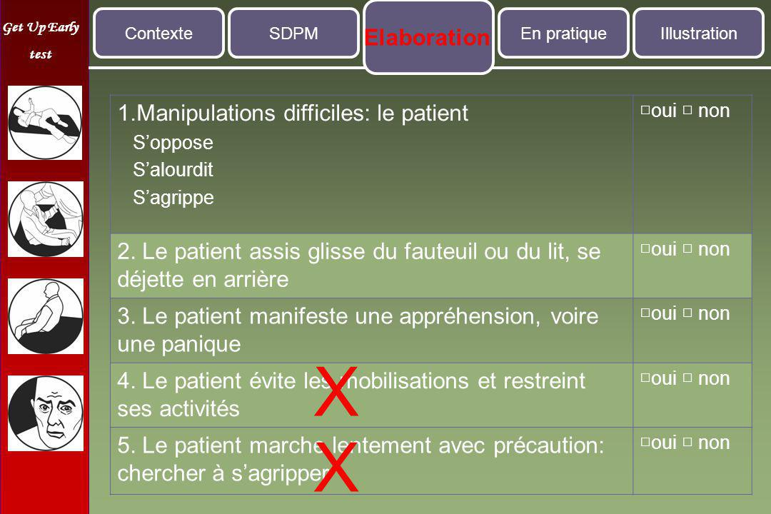 Get Up Early test 1.Manipulations difficiles: le patient S'oppose S'alourdit S'agrippe □oui □ non 2.